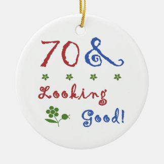 70th Birthday Looking Good Ceramic Ornament
