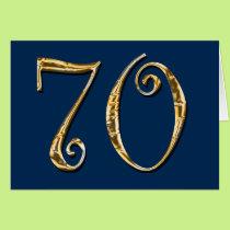 70th birthday | MENS blue gold Card