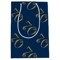 70th birthday | MENS blue gold Medium Gift Bag