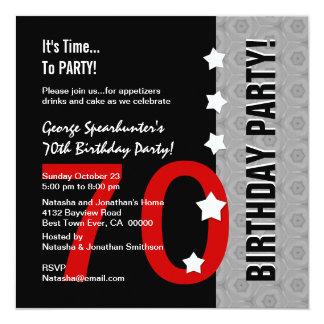 70th Birthday Modern Red Silver Black Funny D845E Card