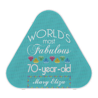 70th Birthday Most Fabulous Colorful Gem Turquoise Speaker