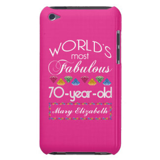 70th Birthday Most Fabulous Colorful Gems Pink Barely There iPod Cover