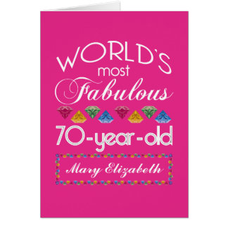 70th Birthday Most Fabulous Colorful Gems Pink Card