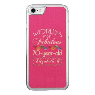 70th Birthday Most Fabulous Colorful Gems Pink Carved iPhone 8/7 Case