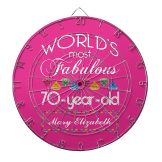70th Birthday Most Fabulous Colorful Gems Pink Dartboard With Darts