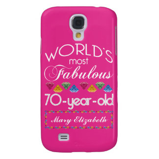 70th Birthday Most Fabulous Colorful Gems Pink Galaxy S4 Case