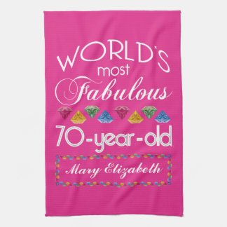 70th Birthday Most Fabulous Colorful Gems Pink Hand Towels