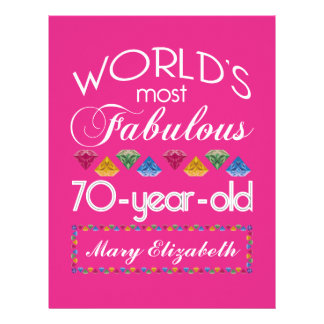 70th Birthday Most Fabulous Colorful Gems Pink Letterhead