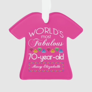 70th Birthday Most Fabulous Colorful Gems Pink Ornament