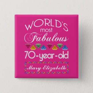 70th Birthday Most Fabulous Colorful Gems Pink Pinback Button