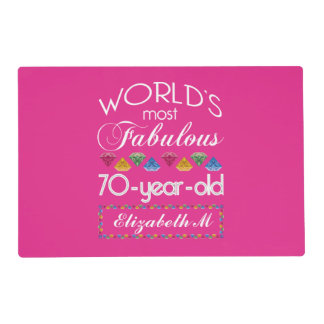70th Birthday Most Fabulous Colorful Gems Pink Placemat