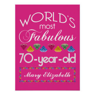 70th Birthday Most Fabulous Colorful Gems Pink Poster
