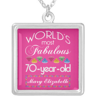 70th Birthday Most Fabulous Colorful Gems Pink Silver Plated Necklace