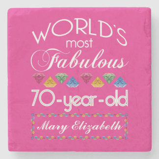 70th Birthday Most Fabulous Colorful Gems Pink Stone Coaster