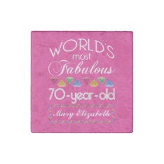 70th Birthday Most Fabulous Colorful Gems Pink Stone Magnet at Zazzle