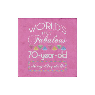 70th Birthday Most Fabulous Colorful Gems Pink Stone Magnet