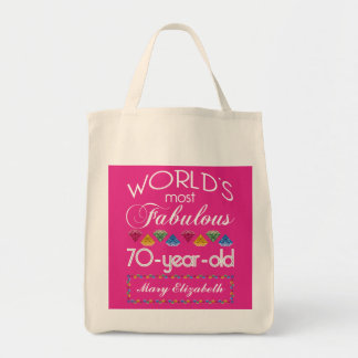 70th Birthday Most Fabulous Colorful Gems Pink Tote Bag