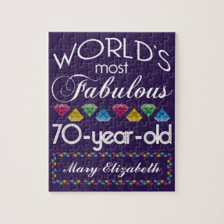 70th Birthday Most Fabulous Colorful Gems Purple Jigsaw Puzzle