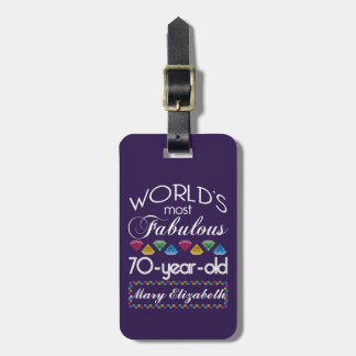 70th Birthday Most Fabulous Colorful Gems Purple Bag Tag
