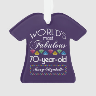 70th Birthday Most Fabulous Colorful Gems Purple Ornament