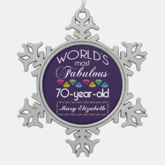 70th Birthday Most Fabulous Colorful Gems Purple Snowflake Pewter Christmas Ornament