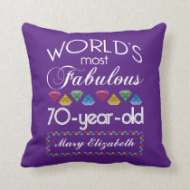 70th Birthday Most Fabulous Colorful Gems Purple Throw Pillow