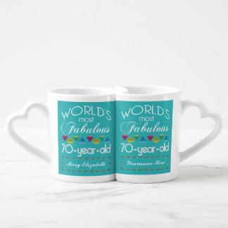 70th Birthday Most Fabulous Colorful Gems Turquois Coffee Mug Set