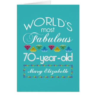 70th Birthday Most Fabulous Colorful Gems Turquois Greeting Card