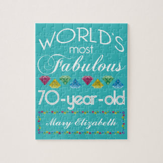 70th Birthday Most Fabulous Colorful Gems Turquois Jigsaw Puzzle