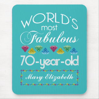 70th Birthday Most Fabulous Colorful Gems Turquois Mouse Pad