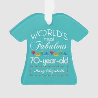 70th Birthday Most Fabulous Colorful Gems Turquois Ornament