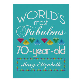 70th Birthday Most Fabulous Colorful Gems Turquois Poster