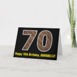 "[ Thumbnail: 70th Birthday: Name + Faux Wood Grain Pattern ""70"" Card ]"