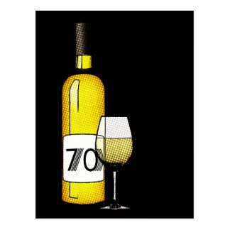 70th birthday or anniversary : wine bottle & glass postcard