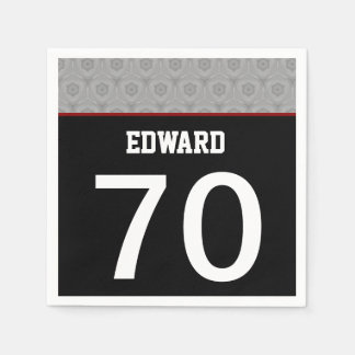 70th Birthday Part Modern Silver and Black A70 Paper Napkin
