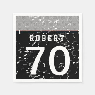 70th Birthday Part Modern Silver and Black A70Z Paper Napkin
