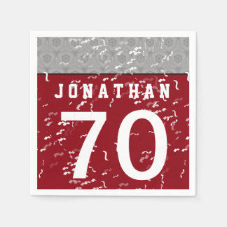 70th Birthday Part Modern Silver Gray and Red A72 Napkin