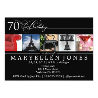 "70th Birthday PARTY Alphabet Photography Invite 5"" X 7"" Invitation Card"