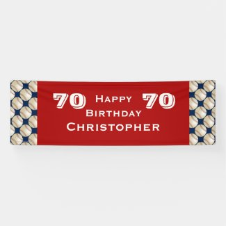 70th Birthday Party Baseball Banner, Adult