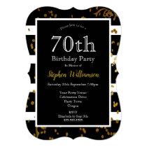 70th Birthday Party Black and White | Gold Glitter Invitation