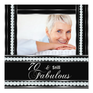 70th Birthday Party Black White Silver Diamond Card