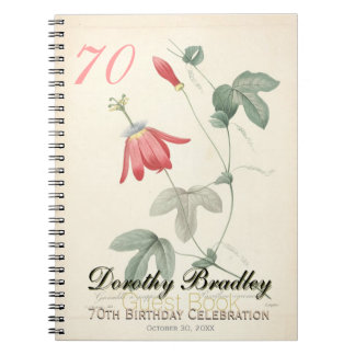 70th Birthday Party - Botanical Custom Guest Book Note Book