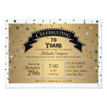 70th Birthday Party Celebrate Faux Jewel Confetti Card