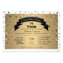 70th Birthday Party Celebrate Faux Jewel Confetti Invitation