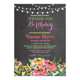 70th Birthday Party Chalkboard Floral Pink Invite