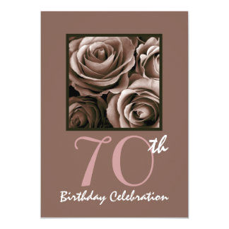 70th Birthday Party CHOCOLATE Roses W1114 5x7 Paper Invitation Card
