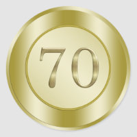 70th Birthday Party Classic Round Sticker