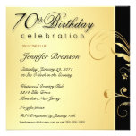 70th Birthday Party - Elegant Gold Floral Invites