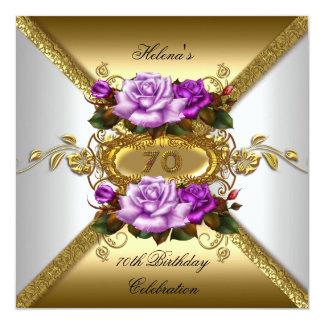 70th Birthday Party Elegant Roses Purple Gold Card