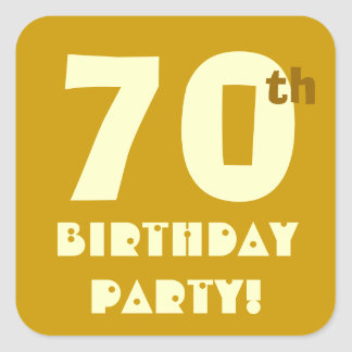 70th Birthday Party Envelope Seal Gold and Cream Square Sticker